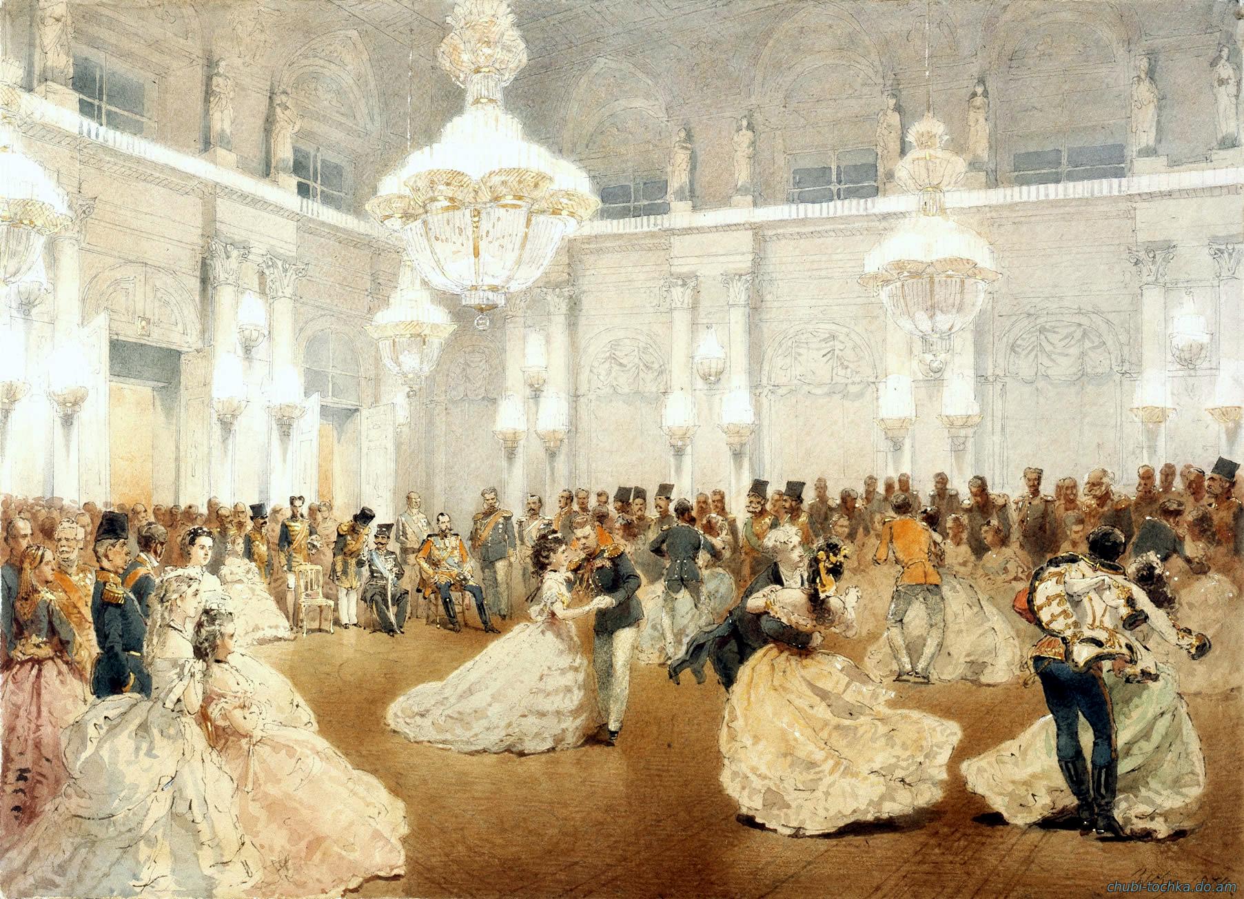 картина бала в дворце Шернбрунн